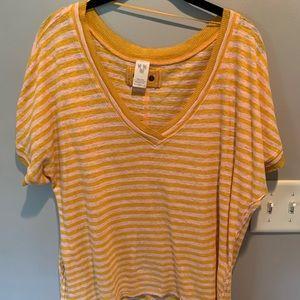 FREE PEOPLE Yellow/Light Pink V-Neck Shirt